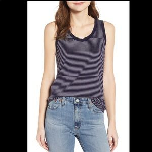 AG Jeans Blue Cambria Stripe Fitted Tank NWOT L